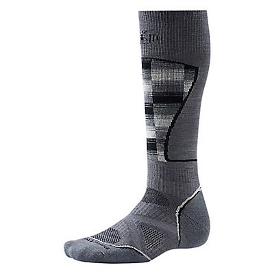 SmartWool PhD Medium Pattern Ski Socks, Black-Red, viewer
