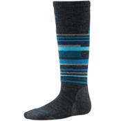 SmartWool Wintersport Stripe Kids Ski Socks, Charcoal Heather, medium