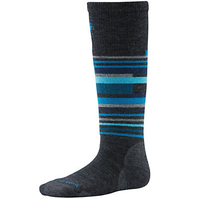 SmartWool Wintersport Stripe Kids Ski Socks, Charcoal Heather, viewer