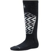 SmartWool Ski Racer Kids Ski Socks, Black-White, medium
