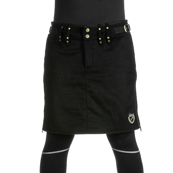 Skea Moyo Short Wool Skirt, Black Wool, 600