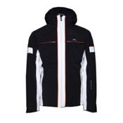 KJUS Downforce Mens Insulated Ski Jacket, Black-White, medium