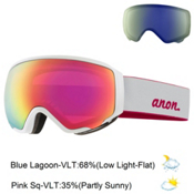 Anon WM1 Womens Goggles 2016, Pearl White-Pink Sq + Bonus Lens, medium