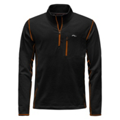 KJUS Hydraulic Half Zip Mens Mid Layer, Black-K Orange, medium