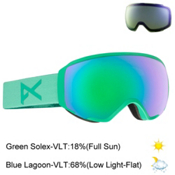 Anon WM1 Womens Goggles 2017, Seacrest-Green Solex + Bonus Lens, medium