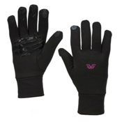 Gordini Tactip Stretch Fleece Touch Screen Womens Glove Liners, Black-Deep Pink, medium
