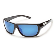 SunCloud Feedback Sunglasses, Black-Blue Mirror Polarized, medium
