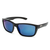 SunCloud Mayor Sunglasses, Black-Blue Mirror Polarized, medium