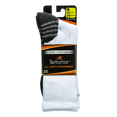 Terramar ASP CoolMax Mens Crew Socks 2 Pack, White-Charcoal, viewer
