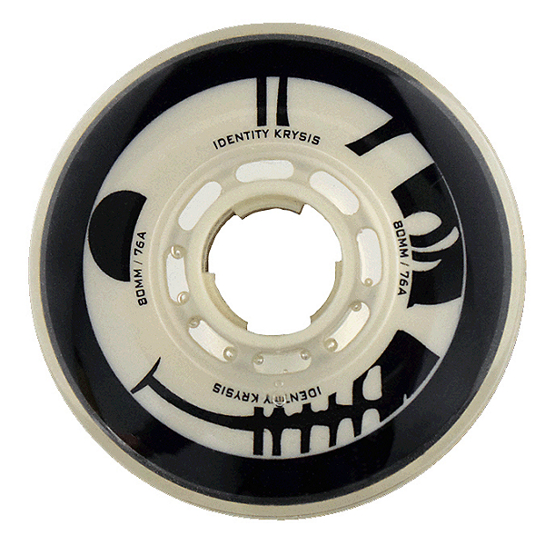 Rink Rat Identity Krysis 76A Inline Hockey Skate Wheels - 4 Pack, Black-White, 600