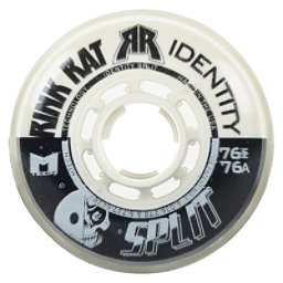 Rink Rat Identity Split 76A Inline Hockey Skate Wheels - 4 Pack, Black-White, 256