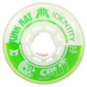 Rink Rat Identity Split 78A Inline Hockey Skate Wheels - 4 Pack, Green-White, medium