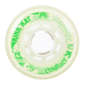 Rink Rat Identity Conflict 76A Inline Hockey Skate Wheels - 4 Pack, White-Green, medium