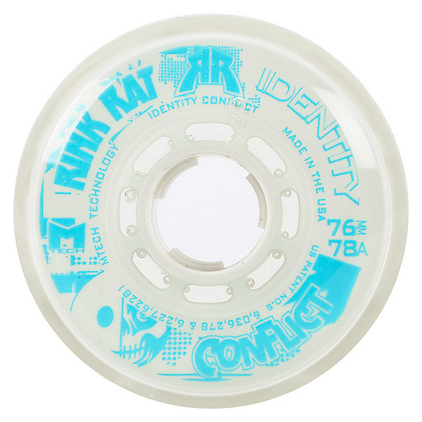Rink Rat Identity Conflict 78A Inline Hockey Skate Wheels - 4 Pack, White-Blue, 600