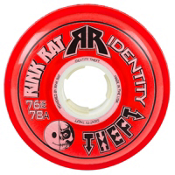 Rink Rat Identity Theft 76A Inline Hockey Skate Wheels - 4 Pack, Red, medium