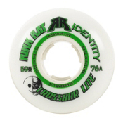 Rink Rat Crossbar Lite Goalie 76A Inline Hockey Skate Wheels - 5 Pack, White-Green, medium