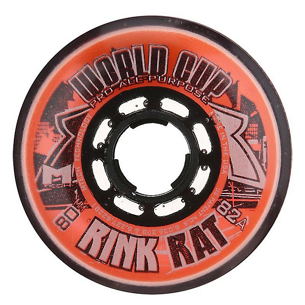 Rink Rat World Cup 82A Inline Hockey Skate Wheels - 4 Pack, Orange-Black, 600