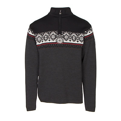 Dale Of Norway St Moritz Masculine Mens Sweater, Dark Charcoal-Raspberry-Black-, viewer