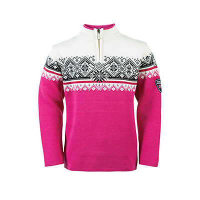 Dale Of Norway St. Moritz Kids Sweater, Raspberry-Black-Off White, viewer