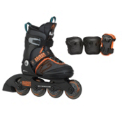K2 Raider Pro Pack Adjustable Kids Inline Skates, Black-Orange, medium