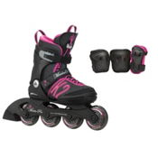 K2 Marlee Pro Pack Adjustable Girls Inline Skates, Black-Pink, medium