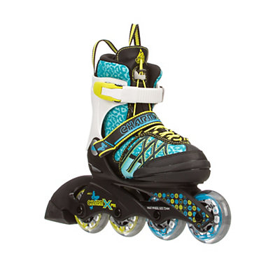 K2 Charm X Pro Adjustable Girls Inline Skates, Cyan-White, viewer