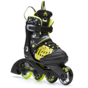 K2 Sk8 Hero X Pro Adjustable Kids Inline Skates, Black-Lime, medium