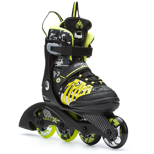 K2 Sk8 Hero X Pro Adjustable Kids Inline Skates, Black-Lime, 600