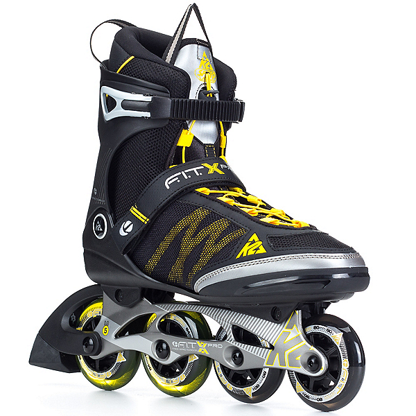 K2 FIT X Pro Inline Skates, Gunmetal-Yellow, 600