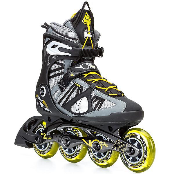 K2 VO2 90 Pro Inline Skates, Gunmetal-Yellow, 600