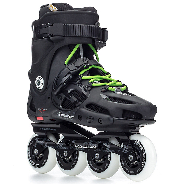 Rollerblade Twister 80 Urban Inline Skates, Black-Green, 600