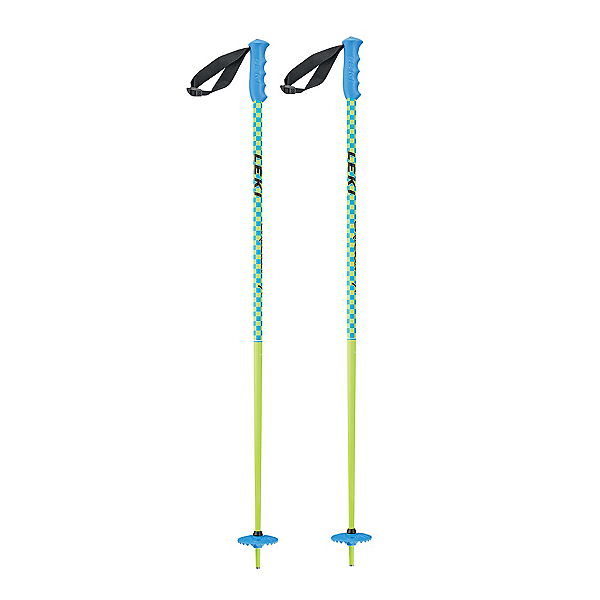 Leki Checker X Ski Poles, Yellow-Cyan, 600