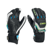 Leki World Cup Race Coach Flex S GTX Ski Racing Gloves, Black-White-Cyan-Yellow, medium