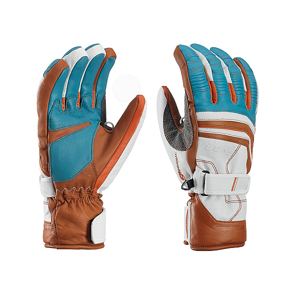 Leki Aspen Retro S Gloves, Cyan-White-Tan-Orange, 600