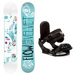 Flow Micron Velvet and Stealth Jr Girls Snowboard and Binding Package
