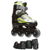 5th Element B2-100 Adjustable Boys Skates with Pads, Black-Green, medium