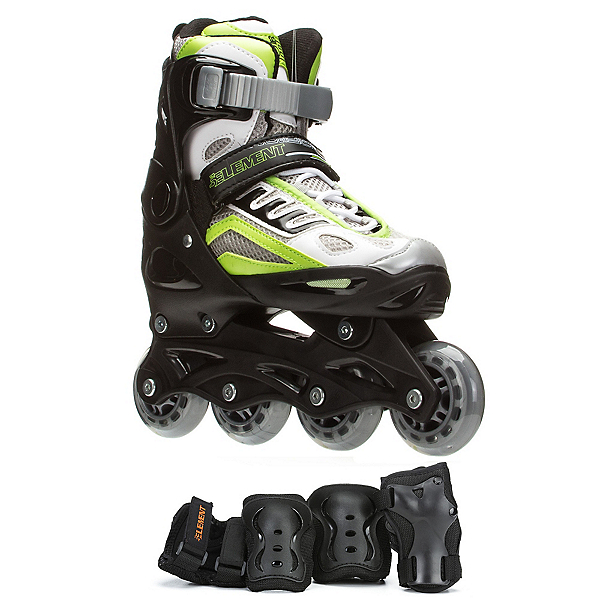 5th Element B2-100 Adjustable Boys Skates with Pads, Black-Green, 600