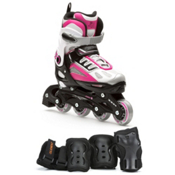 5th Element G2-100 Adjustable Girls Skates With Pads Girls Inline Skates, White-Pink, medium