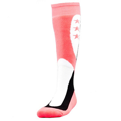 Spyder Flag G Girls Ski Socks (Previous Season), Black-White-Bryte Bubblegum, viewer