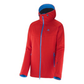 Salomon Snowtrip Premium Womens Insulated Ski Jacket, Poppy-Methyl Blue, medium