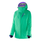 Salomon Zero Womens Insulated Ski Jacket, Cascade Green, medium