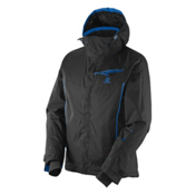 Salomon Open Mens Insulated Ski Jacket, Black-Union Blue, medium