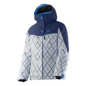 Salomon Snowink Girls Ski Jacket, Abyss Blue-Methyl Blue-White, medium