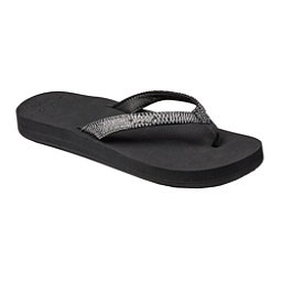 Reef Star Cushion Sassy Womens Flip Flops, Black-Silver, 256