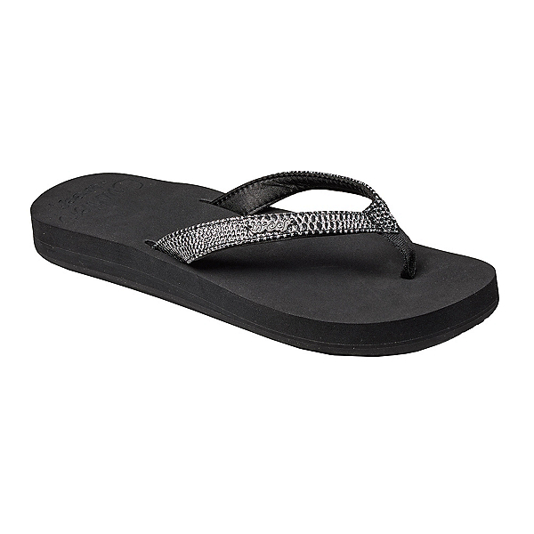 Reef Star Cushion Sassy Womens Flip Flops, Black-Silver, 600