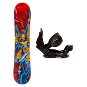 Black Fire Techno and Stealth Kids Snowboard and Binding Package, , medium