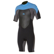 Quiksilver 2mm Syncro SSL Spring BZ Flatlock Shorty Wetsuit 2015, Black-Graphite-Blue, medium