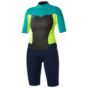 Roxy 2/2mm Syncro Spring Womens Shorty Wetsuit 2015, Navy-Lemon-Turquoise, medium