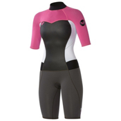 Roxy 2/2mm Syncro Spring Womens Shorty Wetsuit 2015, Graphite-White-Pink, medium