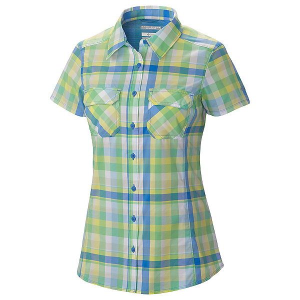 Columbia Saturday Trail III Short Sleeve Womens Shirt, Harbor Blue Plaid, 600